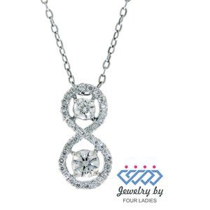Solid Diamond Charm Pendant Jewelry 14K White Gold